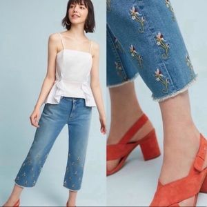 Pilcro • Floral Embroidered Crop Jeans